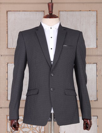 Black color motif printed pattern blazer