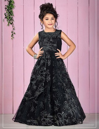 Black color net fabric designer floor length gown