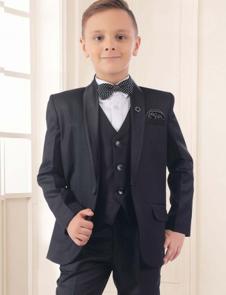 Black color party occasion full sleeves tuxedo suit