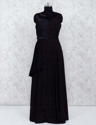 Black color party wear gown in georgette