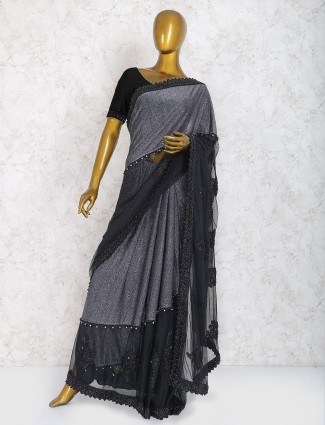 Black color party wear saree in net