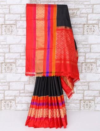 Black color patola silk saree for party