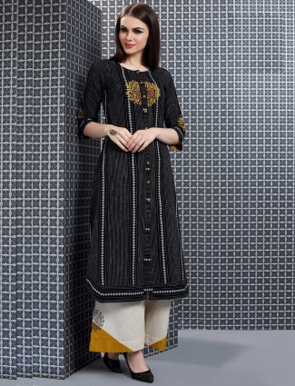 Black color printed festive palazzo suit in cotton