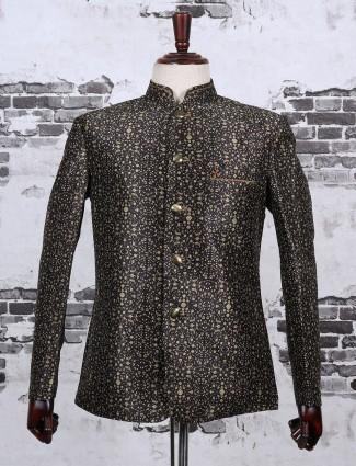 Black color printed jodhpuri blazer