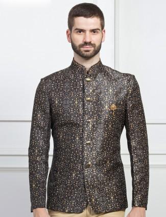 Black color printed jodhpuri blazer for mens