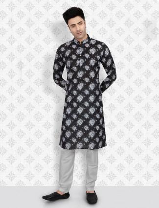 Black color printed kurta suit for festive