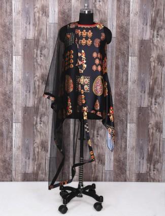 Black color printed satin silk salwar suit