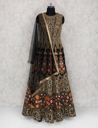 Black color raw silk floor length anarkali suit