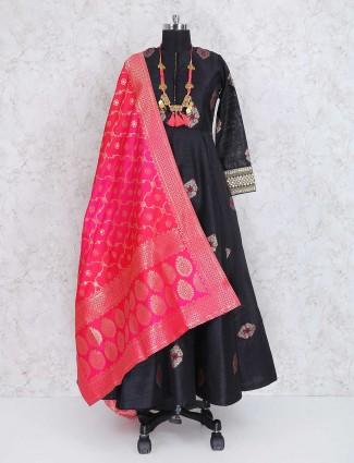 Black color raw silk party wear anarkali salwar suit