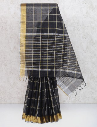 Black color saree in cotton silk fabric