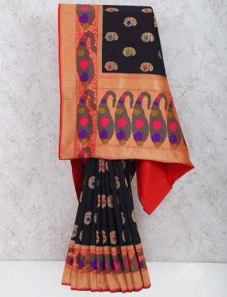 Black color semi silk party wear saree