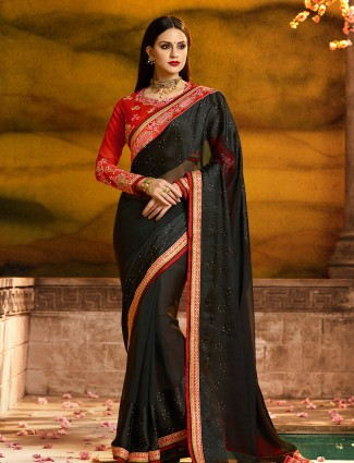 Black color silk fabric simple saree