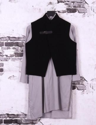 Black color silk fabric waistcoat set