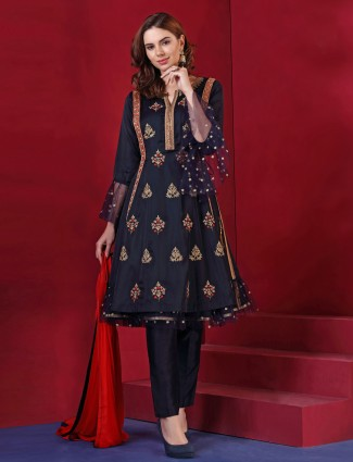 Black color silk festive salwar suit