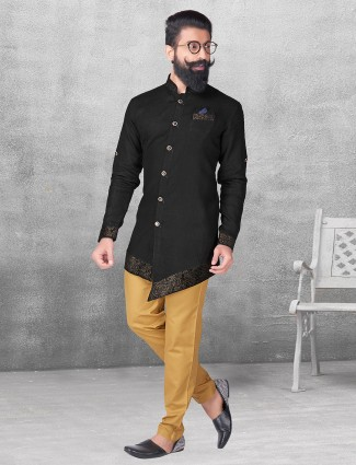 Black color silk kurta suit