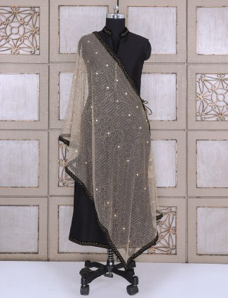 Black color silk palazzo suit for party function