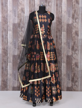 Black color silk printed anarkali suit
