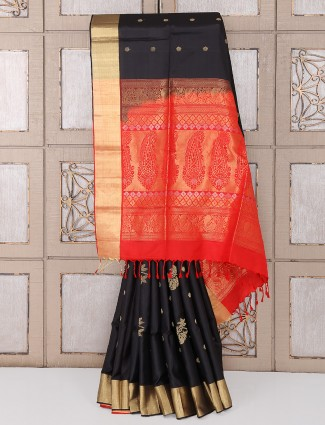 Black color silk saree for party wear