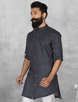 Black color simple linen short pathani
