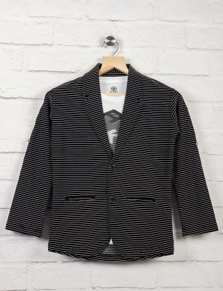 Black color stripe pattern boys blazer