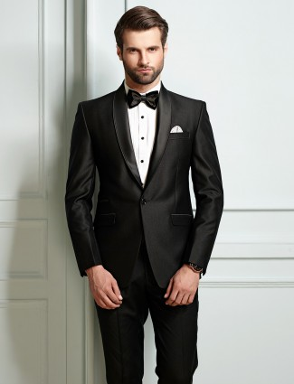 Black color suit in terry rayon fabric
