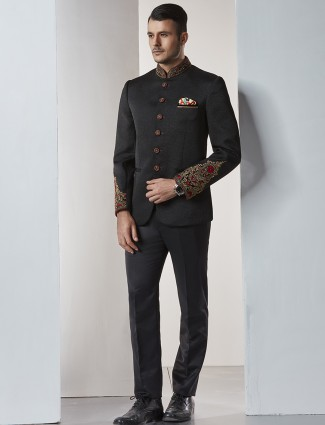 Black color terry rayon jodhpuri suit