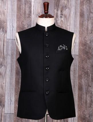 Black color terry rayon waistcoat