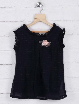 Black color top in georgette