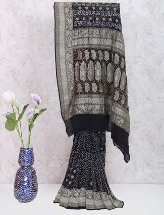 Black color wedding wear gharchola georgette saree