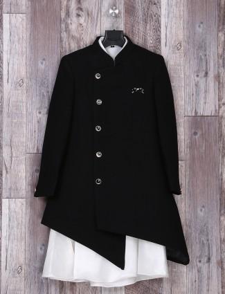 Black color weddingwear silk indo western