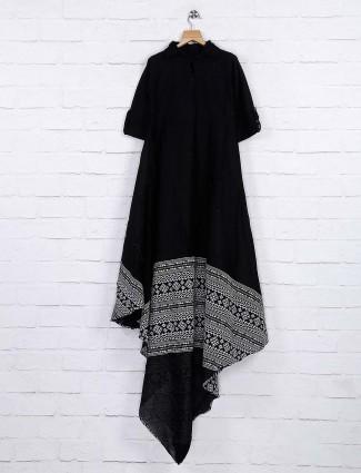 Black colored cotton casual kurti