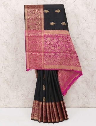 Black colored cotton silk fabric saree