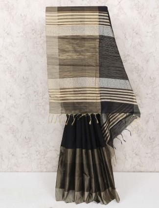 Black colored cotton silk festive saree