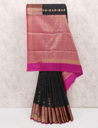 Black colored saree in cotton silk fabric