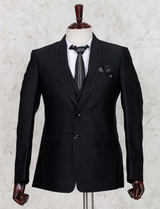 Black colored solid terry rayon coat suit