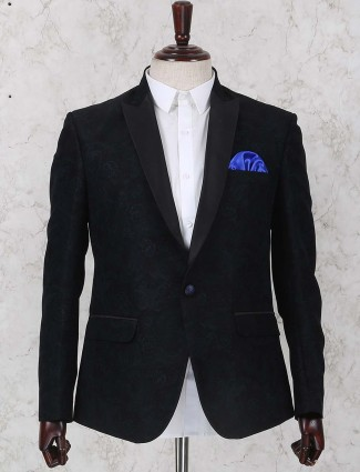 Black colored terry rayon texture pattern blazer