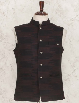 Black colored textured pattern mens waistcoat