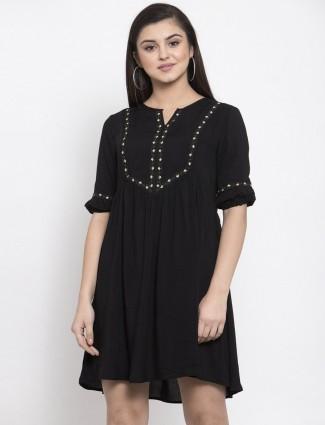 Black cotton casual long casual top