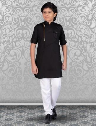 Black cotton festive occasion kurta suit