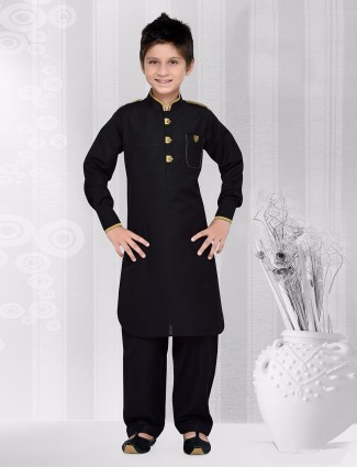 Black cotton kurta suit
