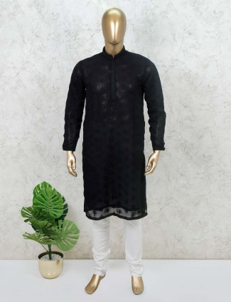 Black cotton kurta suit festive wear