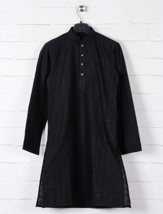 Black cotton kurta suit with lucknowi thread work