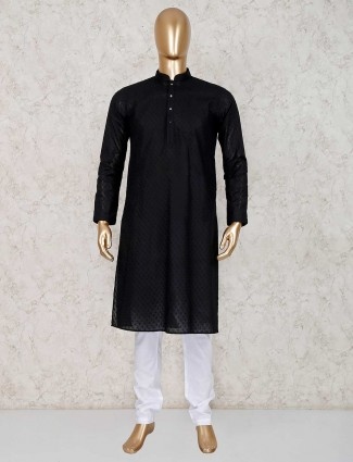 Black cotton kurta with churidar