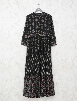 Black cotton kurti in printed design