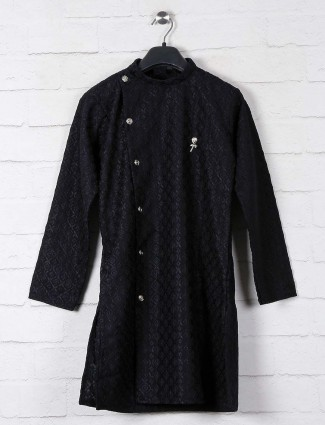 Black cotton lucknowi thread weaving kurta suit
