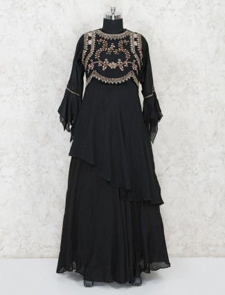 Black cotton party wear anarkali salwar suit