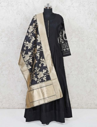 Black cotton party wear anarkali suit