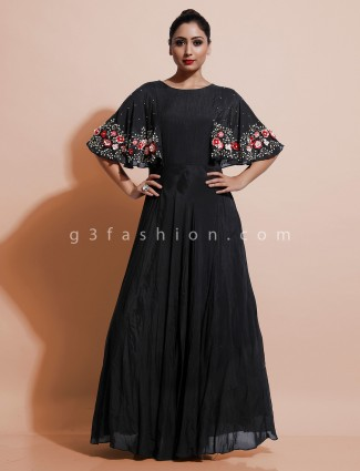 Black cotton party wear dress in cotton