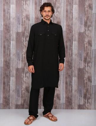 Black cotton plain festive pathani suit