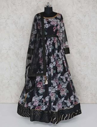 Black cotton printed anarkali suit